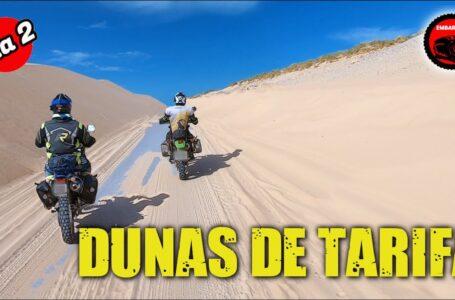 Viaje en moto a Dunas de Tarifa con motos trail offroad ligeras. 1000 Enlodada final