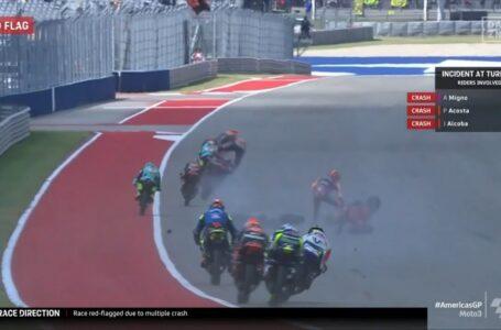 Milagro en Austin! El accidente múltiple con Pedro Acosta y Jeremy Alcoba implicados en Moto3